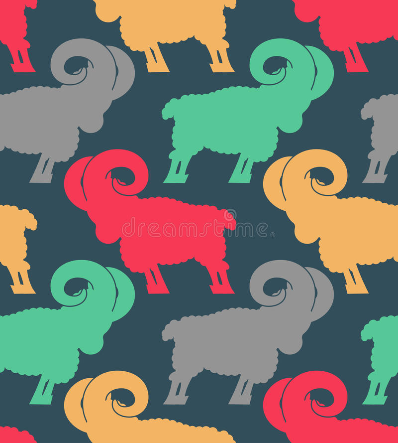 Ram pattern. flock of sheep ornament. Farm Animal Background.  vector illustration