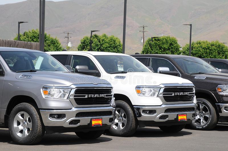 RAM PICKUP FROM DOGE CAR DEALERS IN LWEISTON. Lewiston /Idaho/USA./ 14 May 2019/New made in America Ram pickup doge dealer in Lewistin valley Idaho, Usa .  Photo stock photos