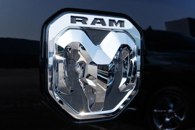 Noblesville - Circa August 2018: Ram 1500 Pickup Trucks at a Dodge dealership III stock images