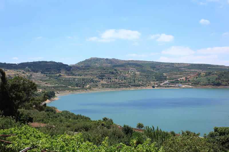 Ram Pool of Ram Lake in de Hogere Golan royalty-vrije stock foto
