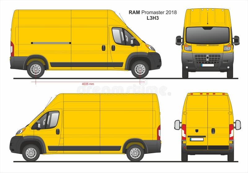 RAM Promaster ładunek Doręczeniowy Van L3H3 2018 ilustracja wektor
