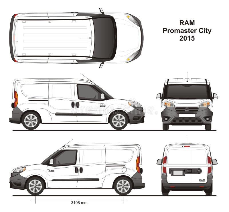 Ram Promaster City Cargo Delivery-Bestelwagen 2015 royalty-vrije illustratie