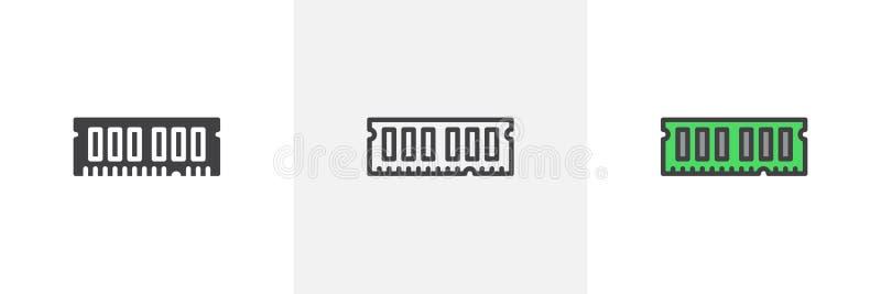 RAM, przypadkowa dojazdowej pamięci ikona ilustracja wektor