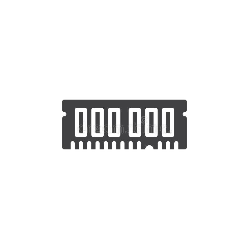 RAM, przypadkowy dojazdowej pamięci ikony wektor, wypełniający mieszkanie znak, stały piktogram odizolowywający na bielu ilustracji