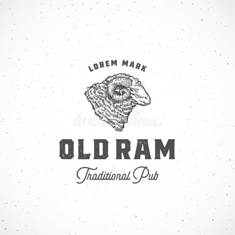 Ram Pub Abstract Vetora Sign idoso, símbolo ou Logo Template Ram Head Sketch Sillhouette tirado mão com tipografia e ilustração stock