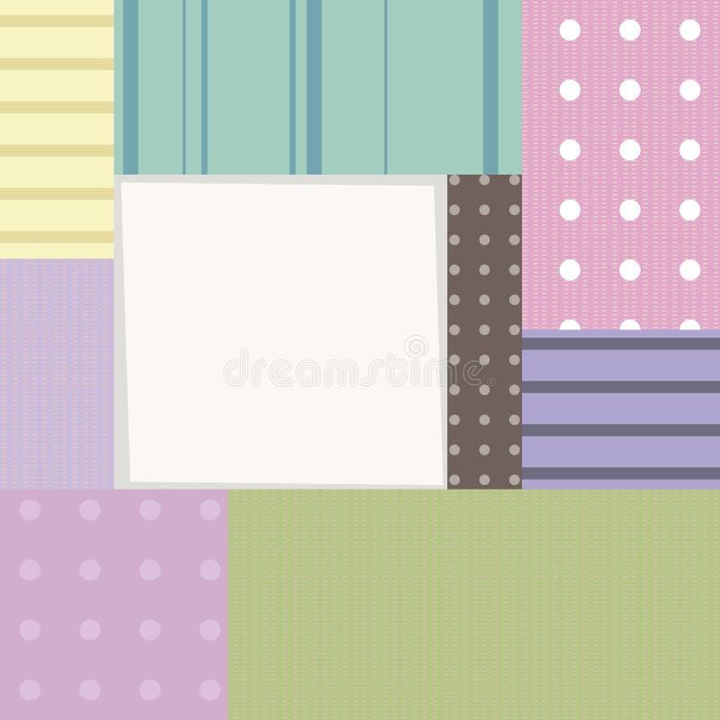 Ram pudełek prezenty robi zakupy prostokątów stubarwnych kwadraty z kropkującą wzór paskującą rabatową dekoraci granicą obramiają royalty ilustracja