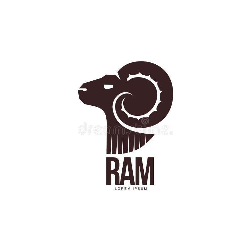 Ram, schapen, grafisch het embleemmalplaatje van het lams hoofdsilhouet stock illustratie
