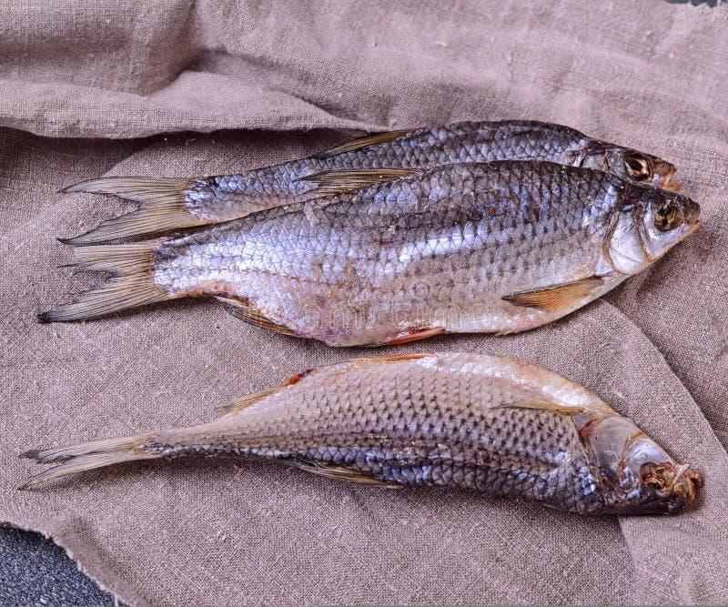 Ram secada dos peixes do rio em um guardanapo cinzento fotos de stock