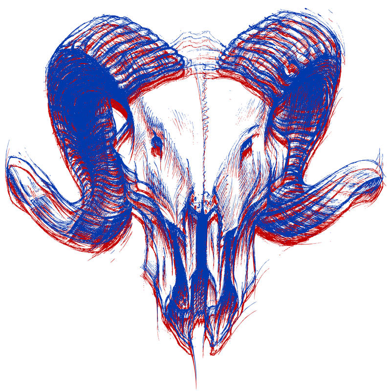 Ram Skull 3D stock de ilustración
