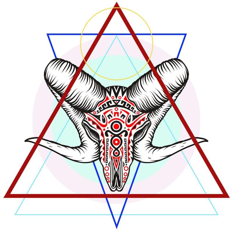 Ram skull with a geometric symbol royalty free stock photos