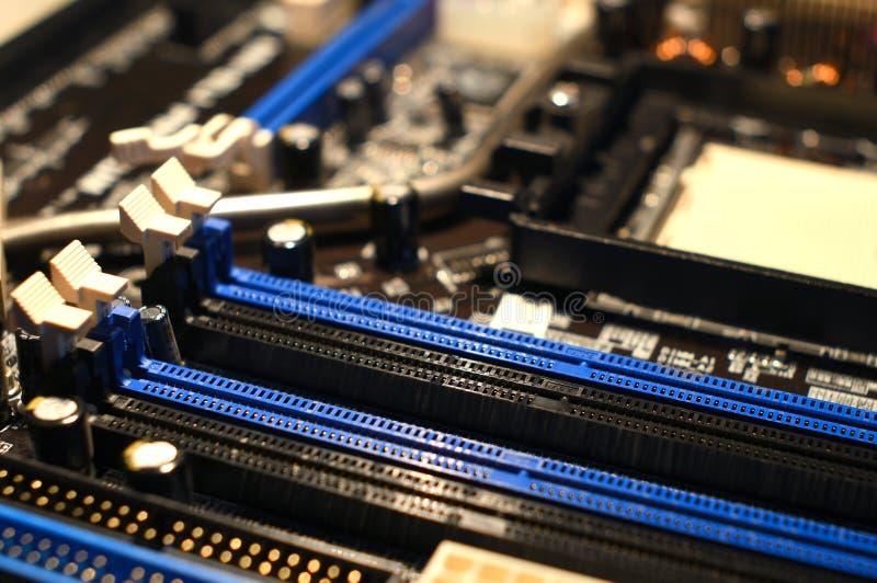 RAM Slot en la placa madre fotografía de archivo libre de regalías