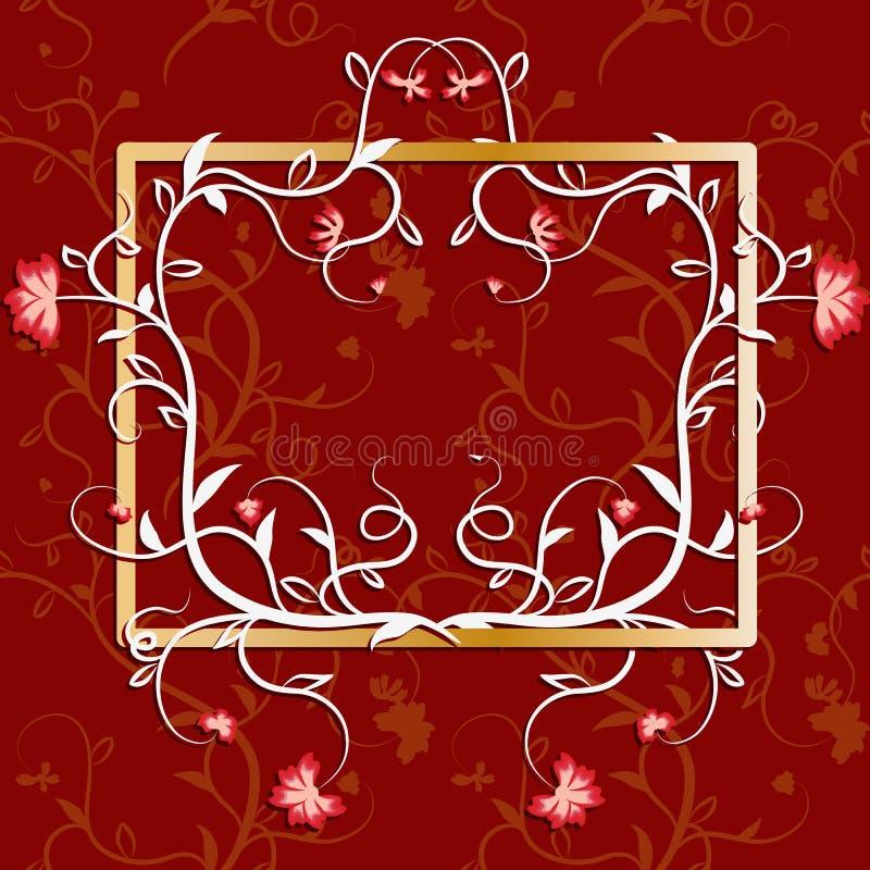 Ram som är bevuxen med blommor och vinrankor Rikt dekorerat med lyckönsknings- bakgrund vektor illustrationer