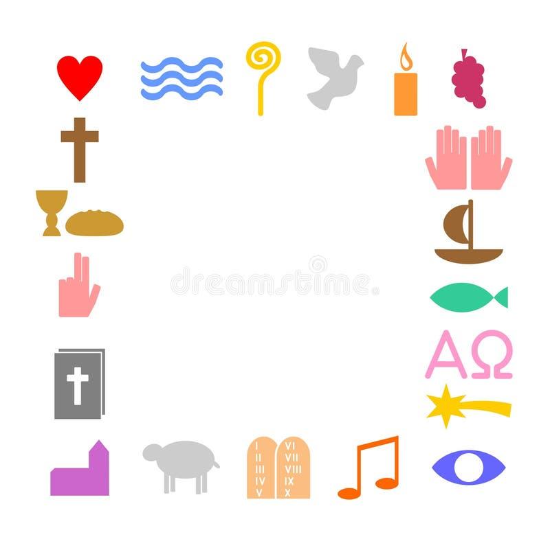 Ram som göras av kristna symboler royaltyfri illustrationer