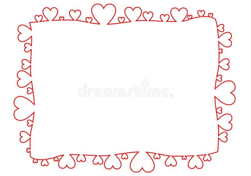 Ram som göras av röda översiktshjärtor stock illustrationer
