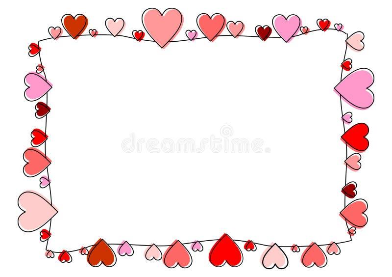 Ram som göras av röda översiktshjärtor royaltyfri illustrationer
