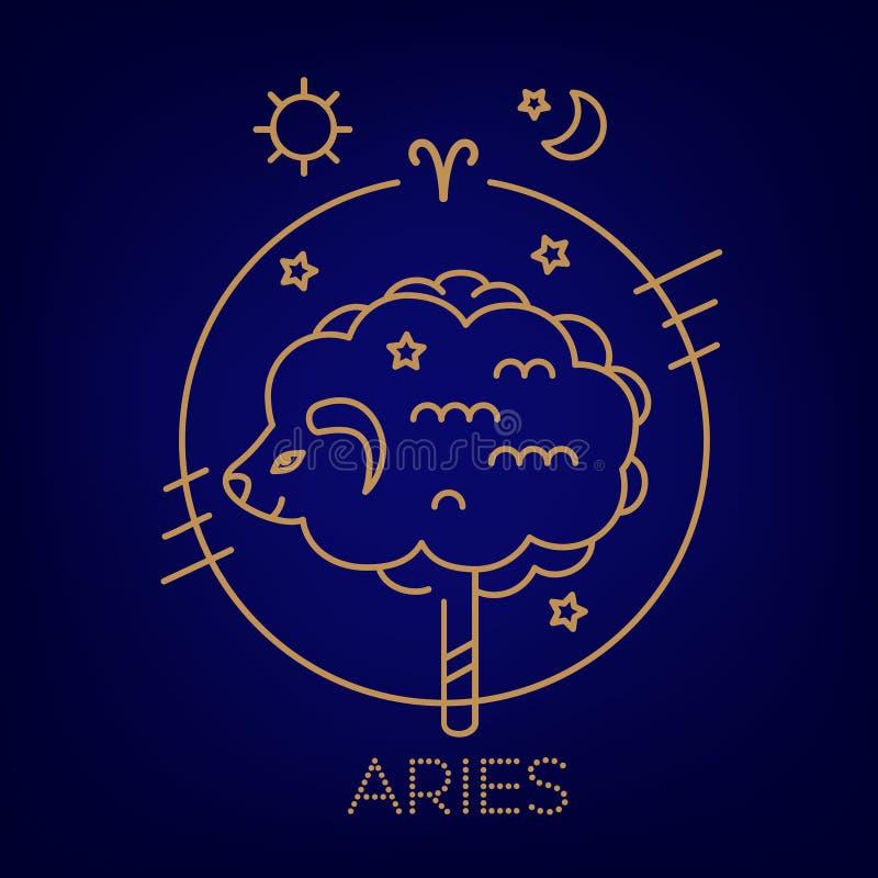 Ram vectorteken van de dierenriem in cirkels van gouden kleur op een blauwe achtergrond, een embleem, een tatoegering of een illu vector illustratie