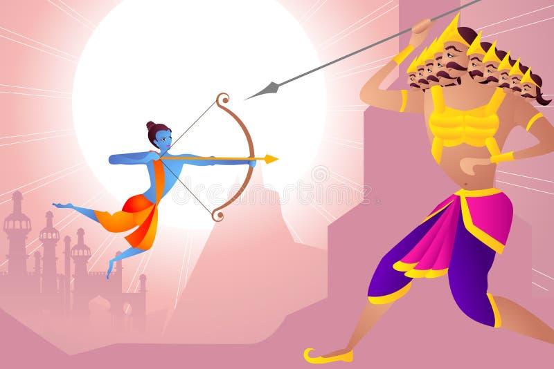Rama που σκοτώνει Ravana σε Dussehra ελεύθερη απεικόνιση δικαιώματος