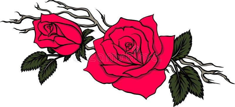 Rama agraciada con dos rosas rojas stock de ilustración