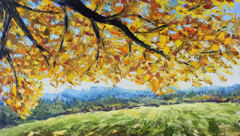 Rama amarilla de un árbol en un claro del bosque, hojas amarillas, árboles verdes ilustración del vector