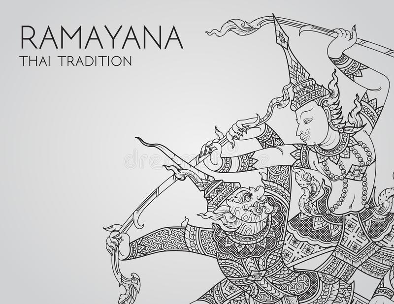 Rama battle a giant of thai tradition style for greeting card design. Vector vector illustration