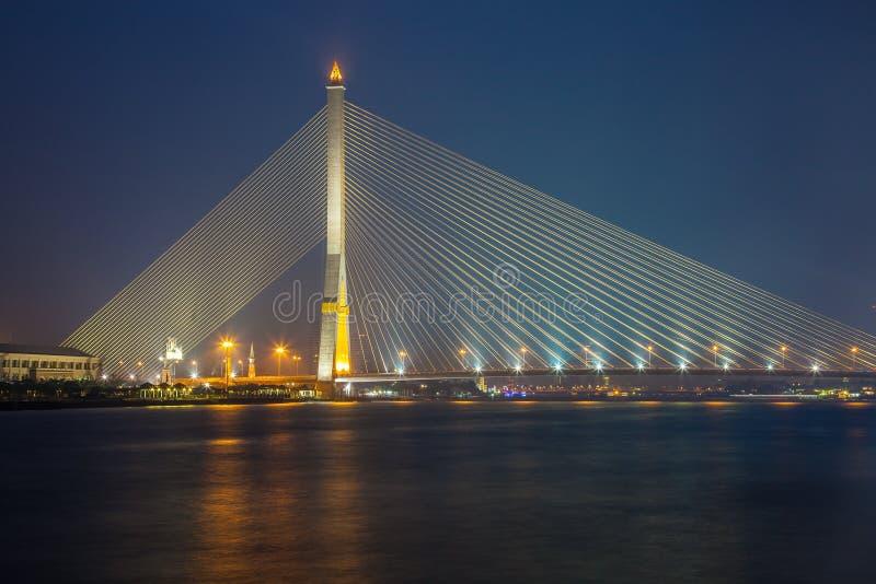 Rama8 bridge. At night in Thailand royalty free stock photography