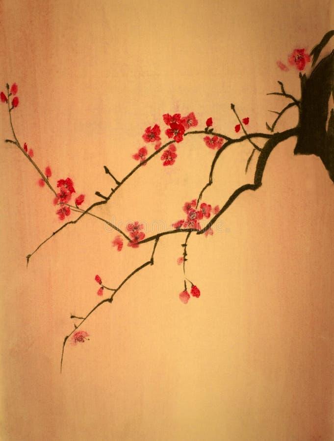 Rama brillante de la cereza stock de ilustración