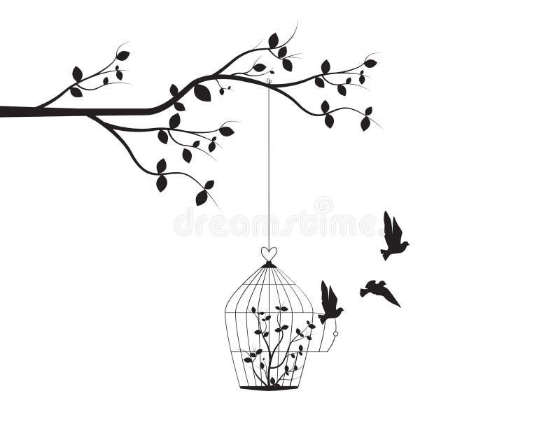 Rama con la jaula de pájaros con las siluetas vector, etiquetas de la pared, decoración de la pared, diseño de la puerta abierta  libre illustration