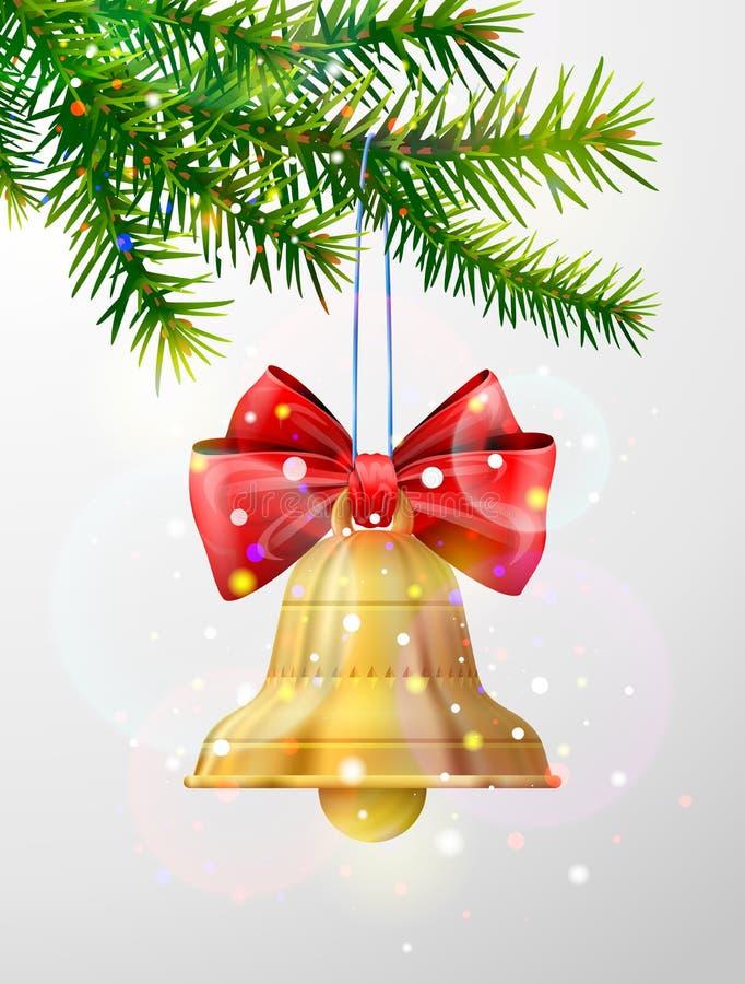 Rama de árbol de navidad con el cascabel de oro stock de ilustración