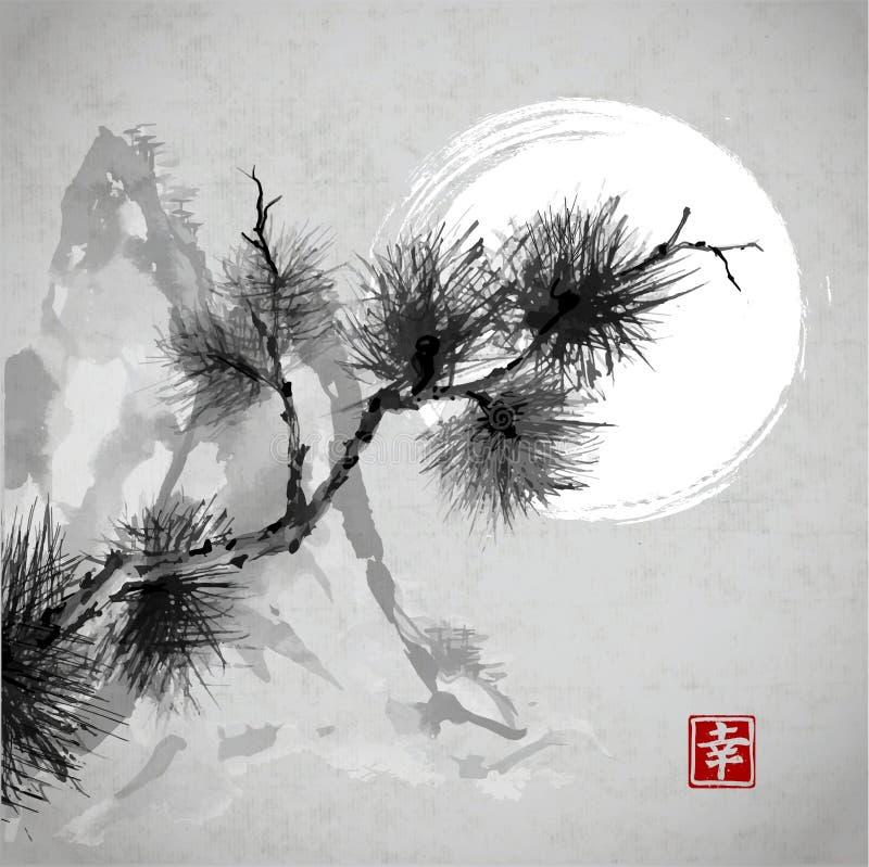 Rama de árbol de pino, montañas y la luna ilustración del vector