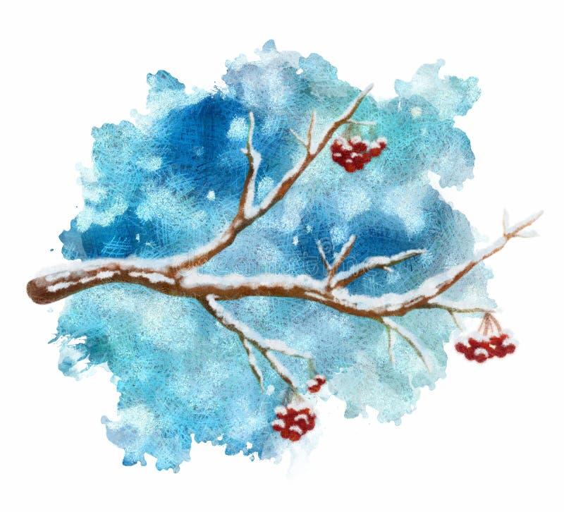 Rama de árbol en colores pastel en fondo del invierno stock de ilustración
