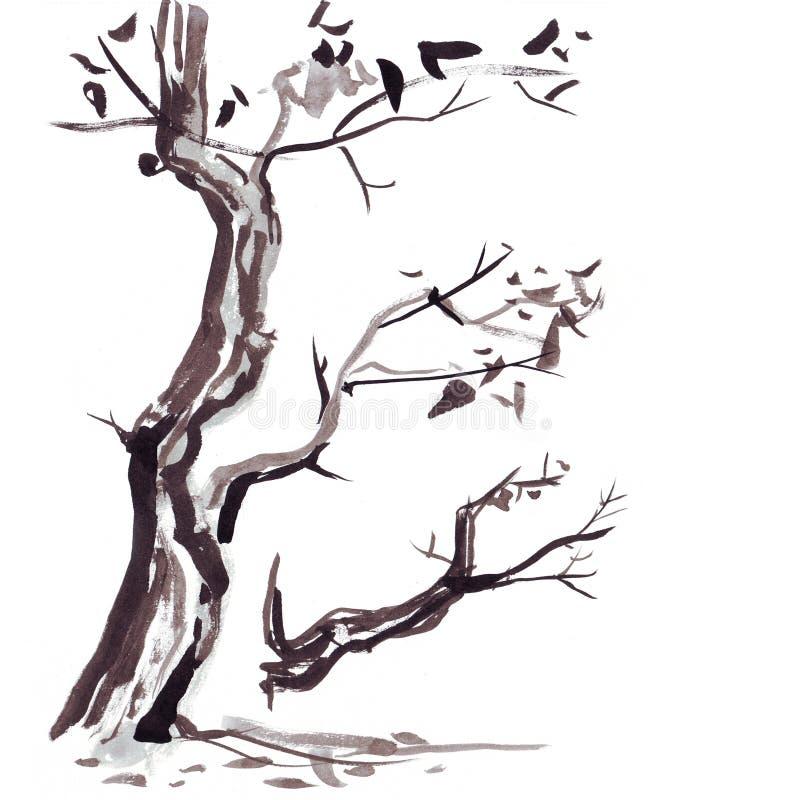 Rama de árbol en estilo japonés Ejemplo de la pintura de la mano de la acuarela stock de ilustración