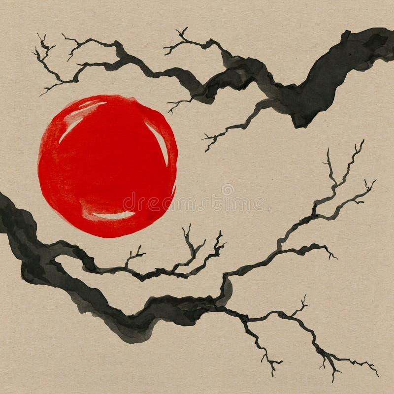 Rama de árbol en estilo japonés Illustra de la pintura de la mano de la acuarela stock de ilustración