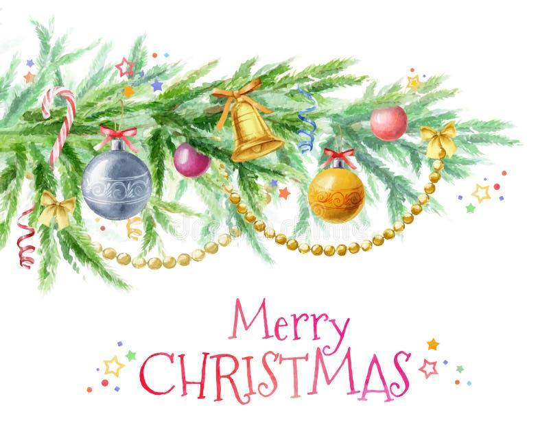 Rama de árbol de navidad con la decoración de los juguetes, de las bolas, de las gotas y de las campanas stock de ilustración