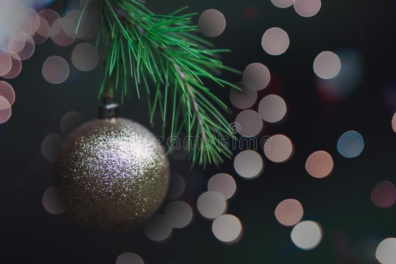 Rama de la picea con una bola de oro de la Navidad en un fondo oscuro con las luces Aislado Cierre para arriba foto de archivo