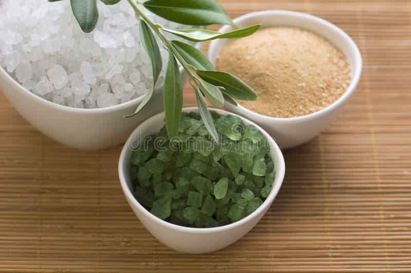 Rama de olivo y sal de baño frescas. balneario fotos de archivo