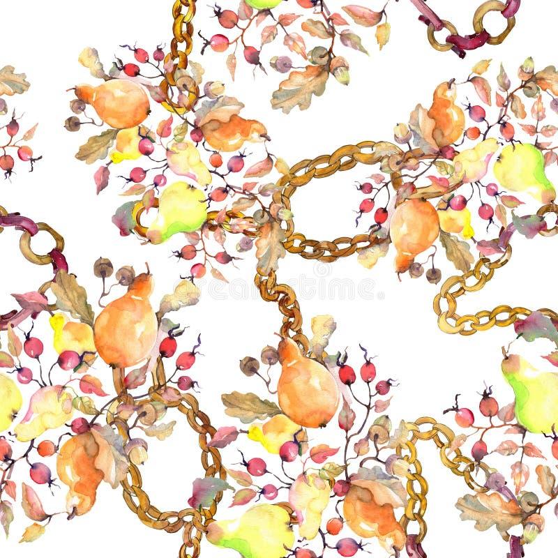 Rama de peras con la fruta de los escaramujos Sistema del ejemplo del fondo de la acuarela Modelo incons?til del fondo stock de ilustración