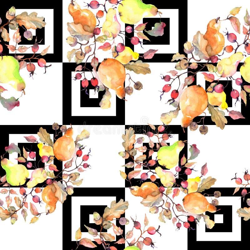 Rama de peras con la fruta de los escaramujos Sistema del ejemplo del fondo de la acuarela Modelo incons?til del fondo ilustración del vector