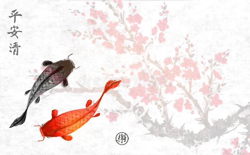 Rama de Sakura en flor y dos pescados grandes Sumi-e oriental tradicional de la pintura de la tinta, u-pecado, ir-hua contiene libre illustration