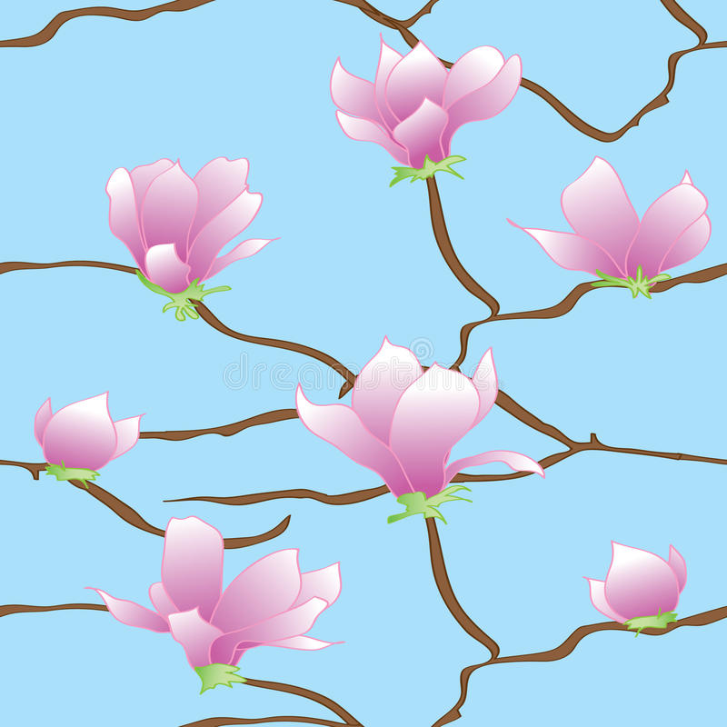 Rama de Sakura en un fondo azul ilustración del vector