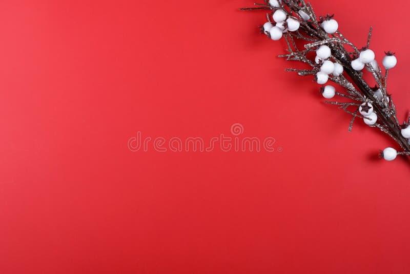 Rama del algodón artificial en fondo rojo foto de archivo libre de regalías