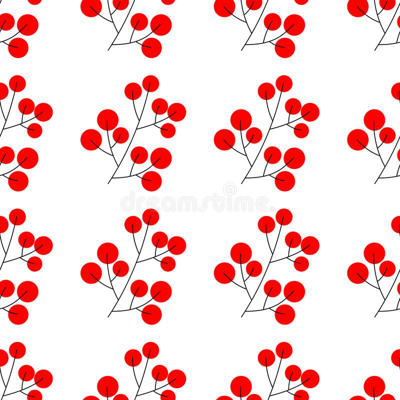 Rama del elemento de las bayas del acebo de la Navidad para el diseño festivo aislado Ilustración del vector Modelo inconsútil ilustración del vector