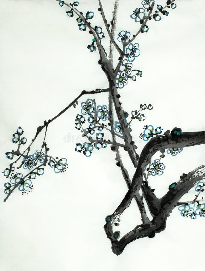 Rama del flor del ciruelo stock de ilustración