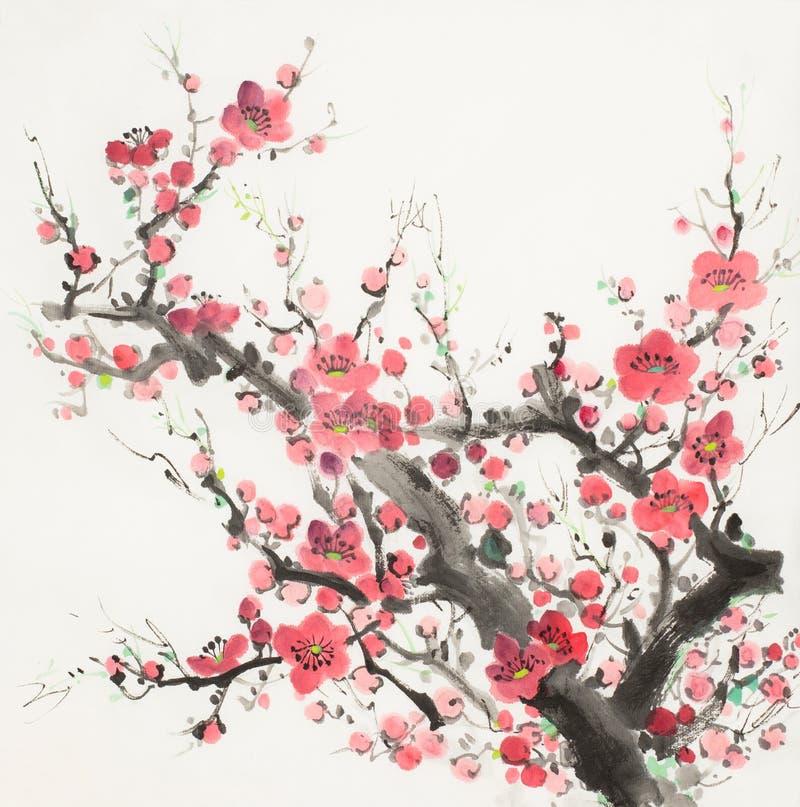 Rama del flor del ciruelo ilustración del vector