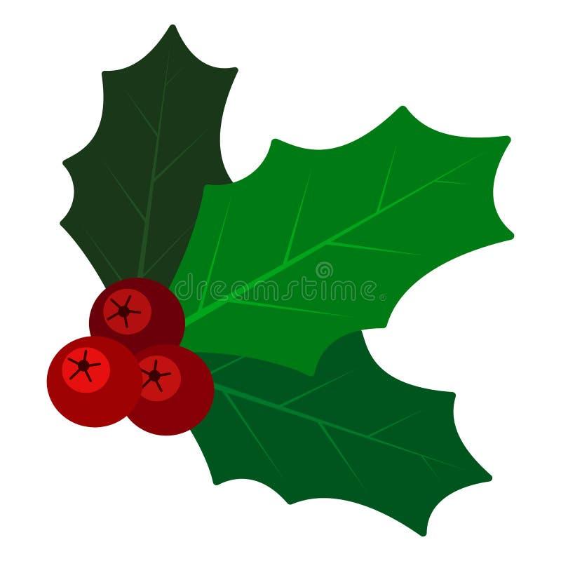 Rama del muérdago en el fondo blanco en estilo plano Símbolo tradicional de la Navidad de la hoja decorativa del acebo ilustración del vector