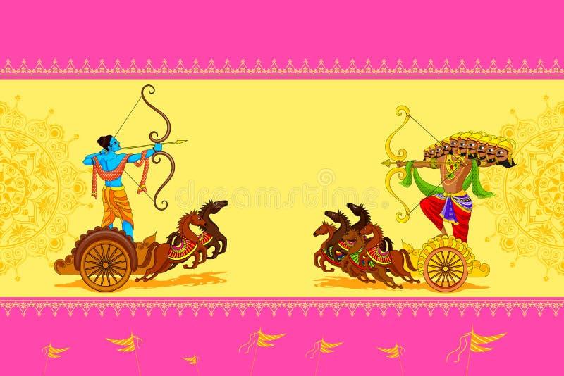 Rama die Ravana in Gelukkige Dussehra doden stock illustratie