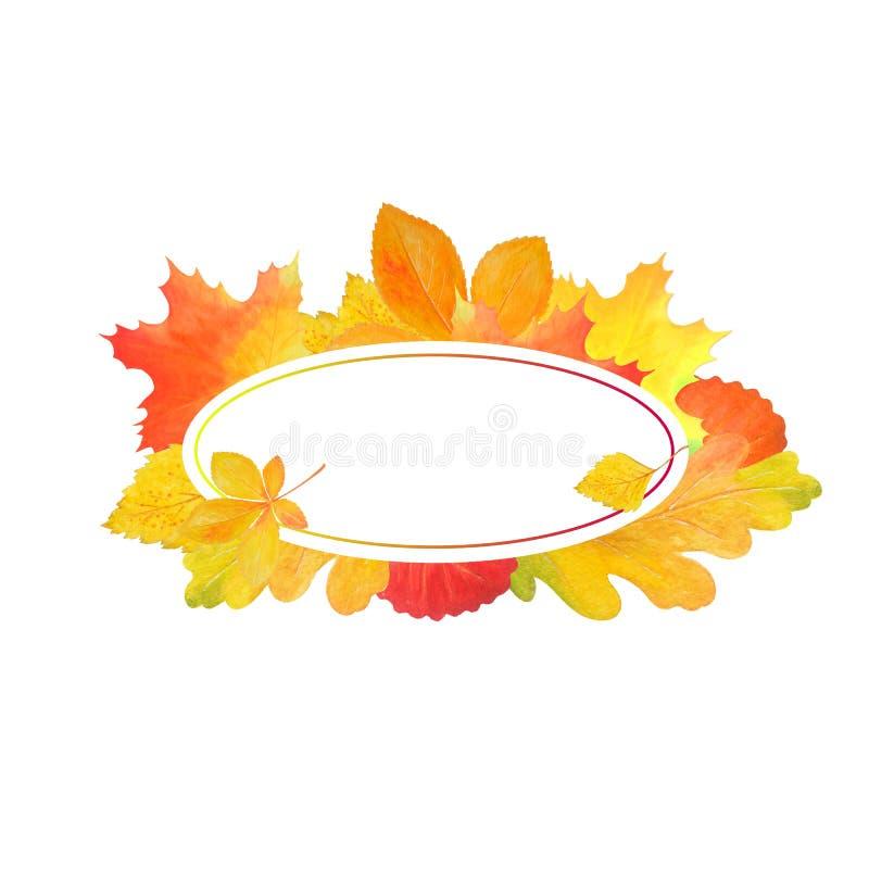 Rama dla projekta z jesień liśćmi Szablon dla teksta ilustracja wektor
