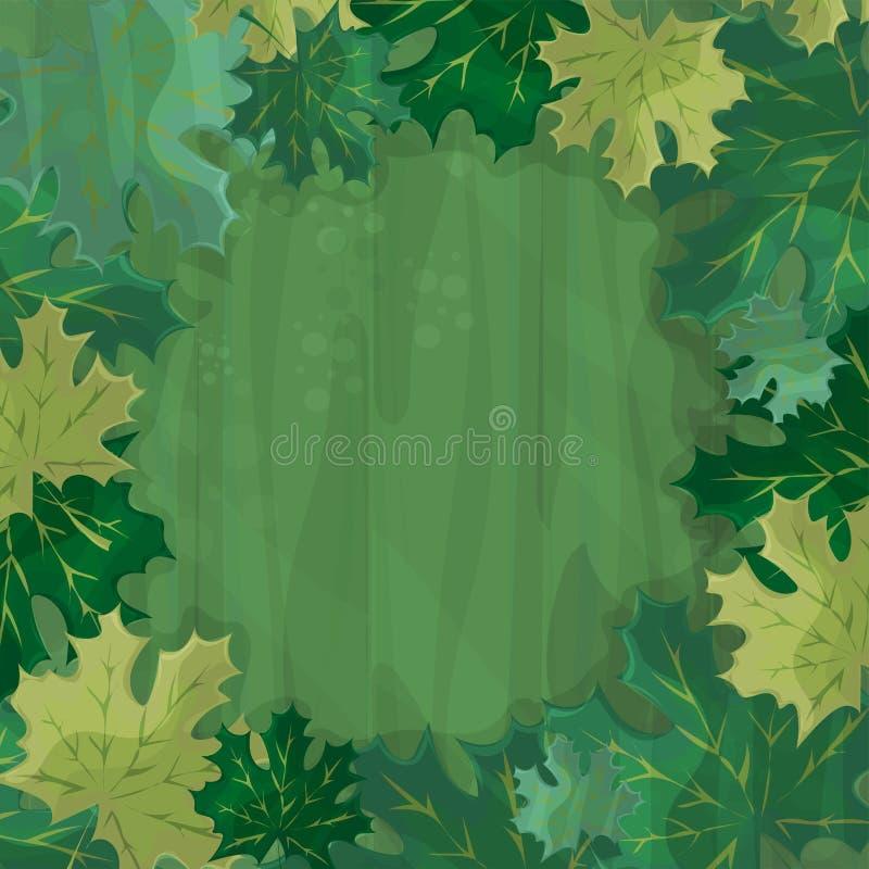 Rama dla tekst dekoraci Zaczarowany las z zielonym liściem klonowym - kreskówka ilustracja wektor