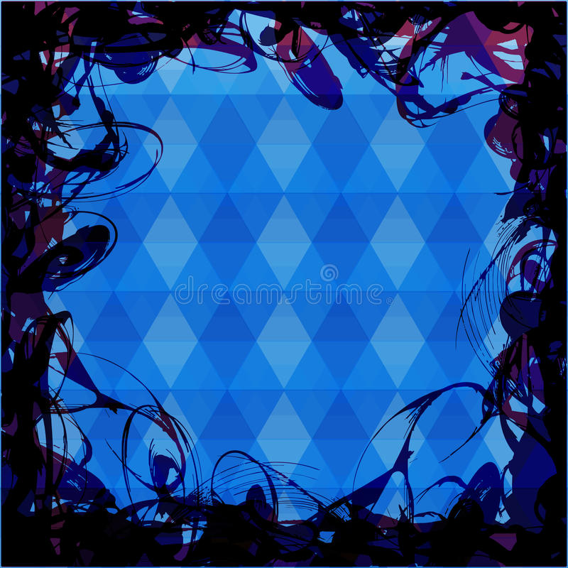 Rama dla teksta nad trójboka tłem błękit royalty ilustracja