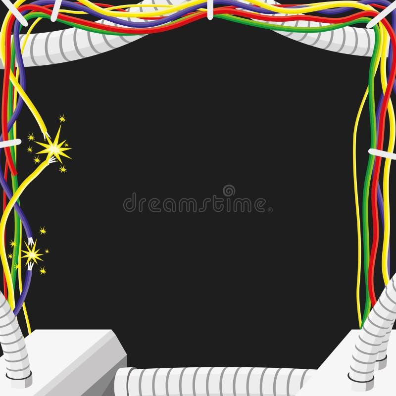 Rama elektryczni druty i kable ilustracja wektor