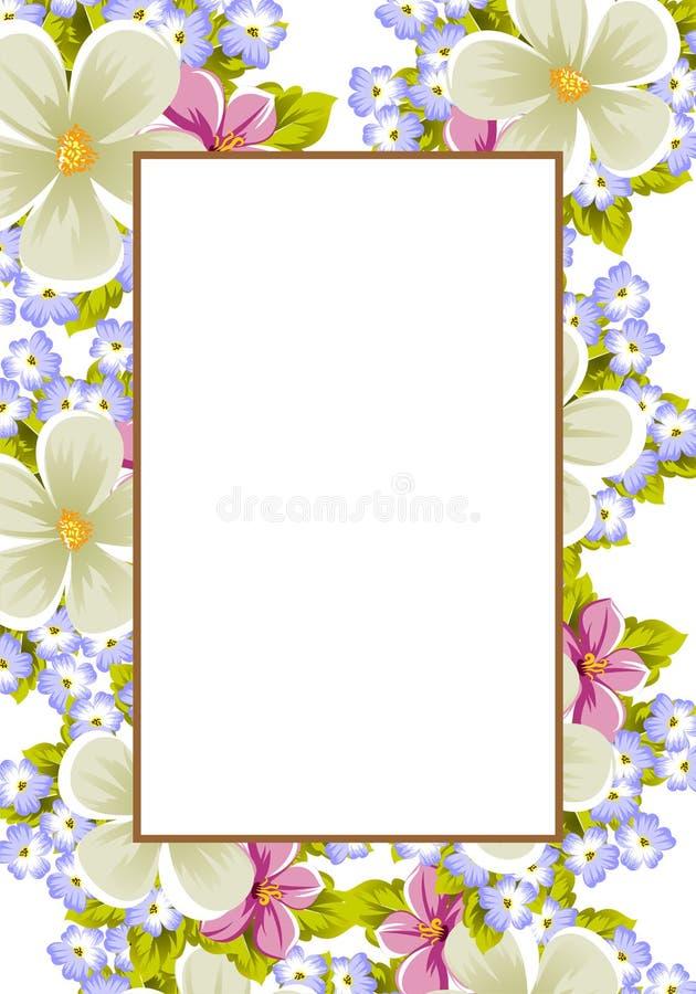 Rama few kwiaty Dla projekta karty, zaproszenia, powitanie dla urodziny, ślub, przyjęcie, wakacje, świętowanie, walentynki ` fotografia stock